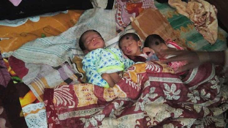একসঙ্গে তিন সন্তানের জন্ম দিয়েছেন শাপলা বেগম