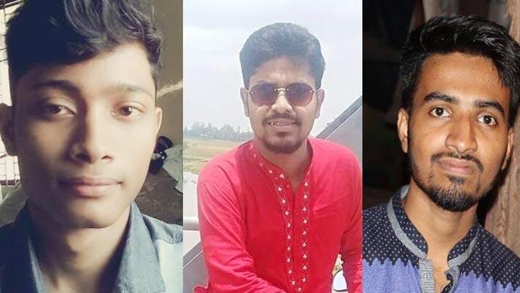 ছাত্রলীগ নেতা রাহাত হোসেন, শাহাদত হোসেন শাওন ও আবদুল্লাহ হিশ শাফি। ছবি: যুগান্তর