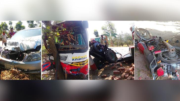 পুলিশের হঠাৎ সিগন্যালে রাজশাহীতে দুমড়ে-মুচড়ে গেল চার যানবাহন