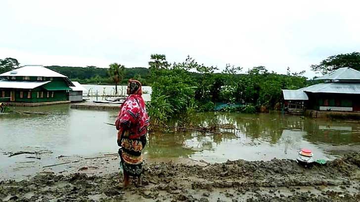 শরণখোলায় বেড়িবাঁধ ভেঙ্গে তিন গ্রাম প্লাবিত, ঘরবাড়ি বিধ্বস্ত