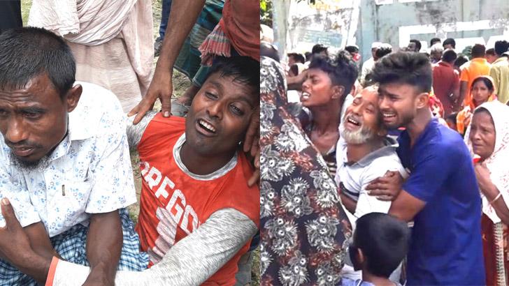 দিনাজপুরের বীরগঞ্জে সড়ক দুর্ঘটনায় নিহত স্বজনদের আহাজারী। ছবি: যুগান্তর