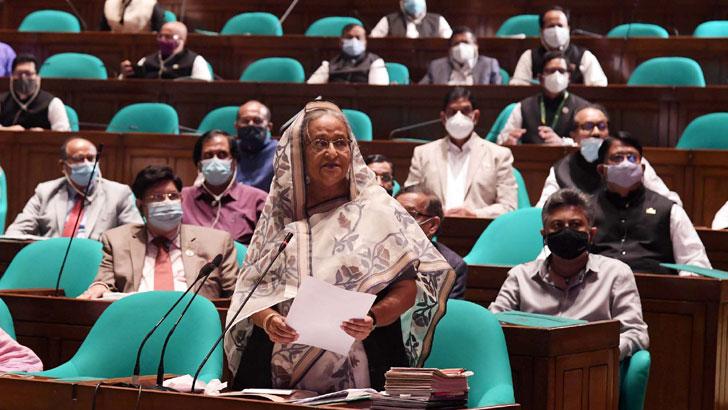 জাতীয় সংসদে বক্তব্য রাখছেন প্রধানমন্ত্রী শেখ হাসিনা। ছবি: যুগান্তর