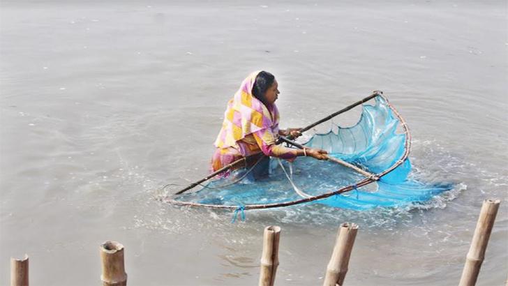 চিংড়ি ঘেরের নোনা পানিতে জীবনবন্দি নারীরা