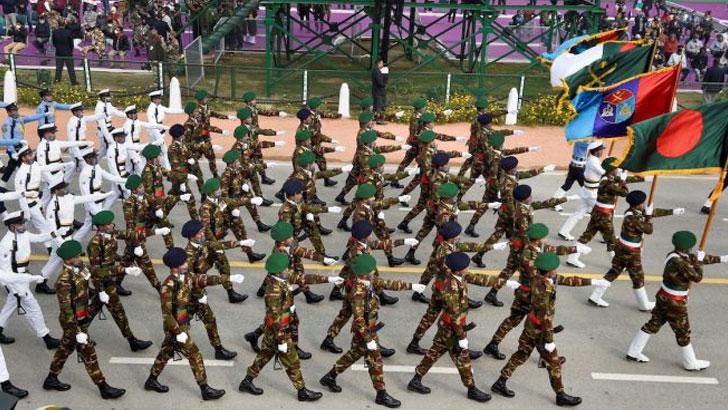 দিল্লির রাজপথে বাংলাদেশ সেনাবাহিনী। ছবি: সংগৃহীত