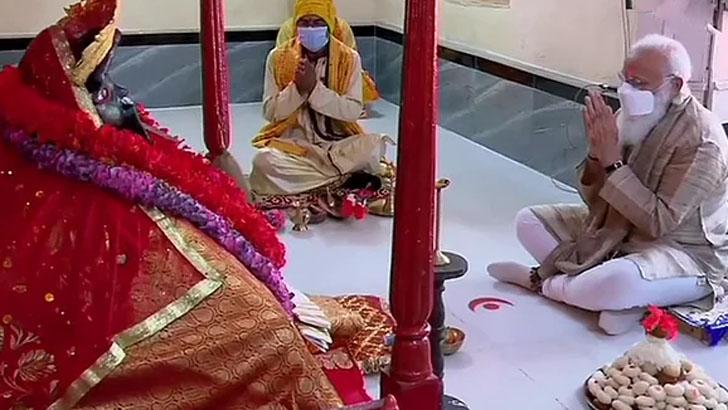 যশোরেশ্বরী কালীমন্দিরে পূজা দিলেন মোদি