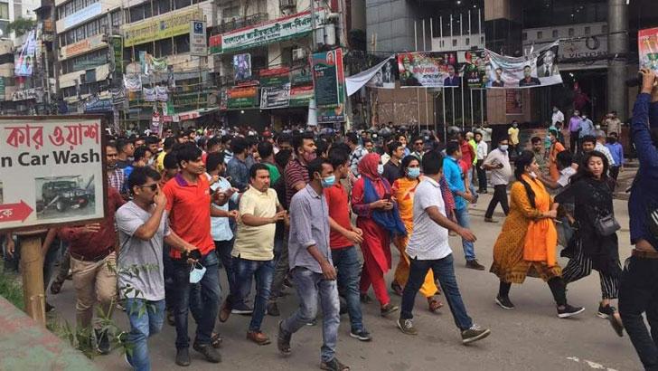 নয়াপল্টনে ছাত্রদল-পুলিশের ধাওয়াপাল্টা ধাওয়া, গাড়ি ভাংচুর