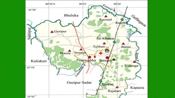 গাজীপুরের মানচিত্র