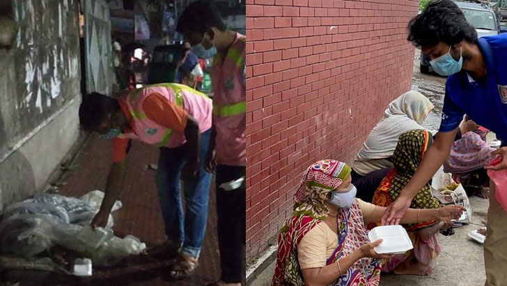 দিনমজুরদের খাবার দিল সিদ্ধিরগঞ্জ মানবকল্যাণ সংস্থা